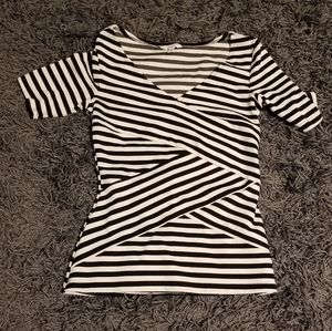 Black and white striped top.